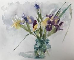 Anne Kullaf_Iris in a Blue Jar_12x18_watercolor