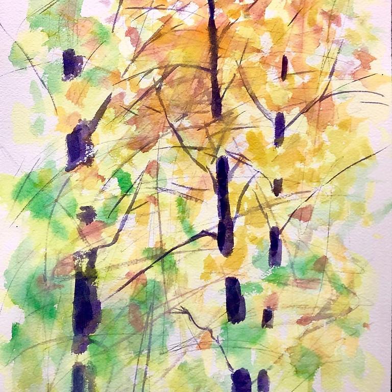 """Exploring the Trees at Whittemore"" in Watercolor En-Plein-Air in August"