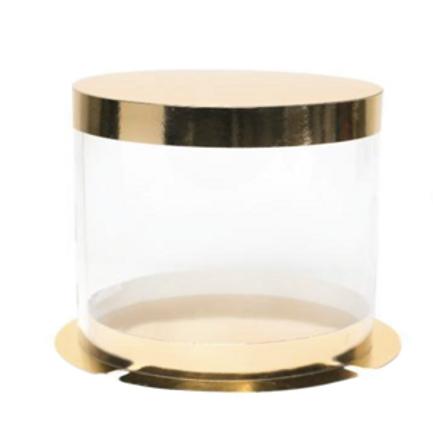Упаковка для торта золото/пластик d25 h22