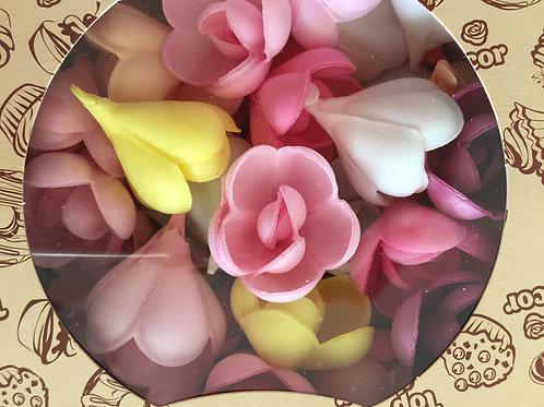 """Вафельные цветы """"Роза малая микс"""" 145шт/упак , Россия"""