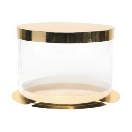Упаковка для торта золото/пластик d30 h22