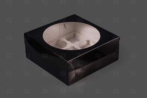 Упаковка для маффинов 12 ячеек чёрная с окном