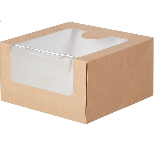 KT100 Упаковка для тортов с окном 180х180х100мм КРАФТ