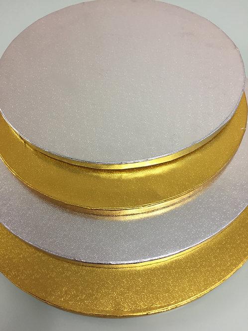 Подложка под торт плотная, усиленная, d-30см. h-12mm, золото/серебро
