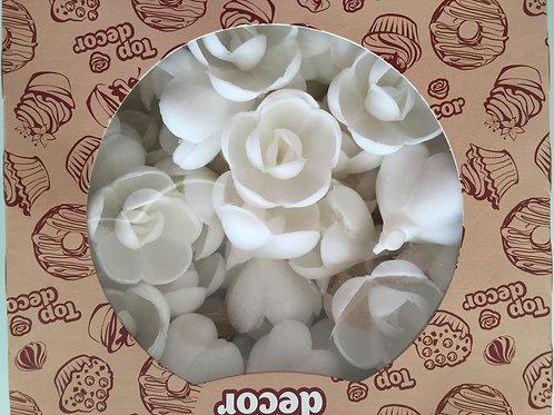 """Вафельные цветы """"Роза большая"""", белая, Россия, 56 шт./упак."""
