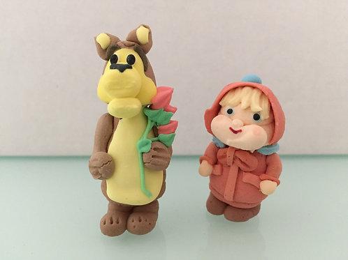 """Сахарные фигурки """"Маша и медведь"""" 2 шт."""