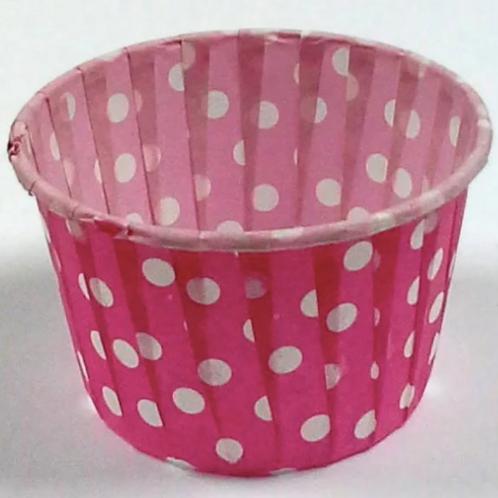 Форма бумажная МАФФИН 50х40мм розовый фон белый горох 100шт/упак