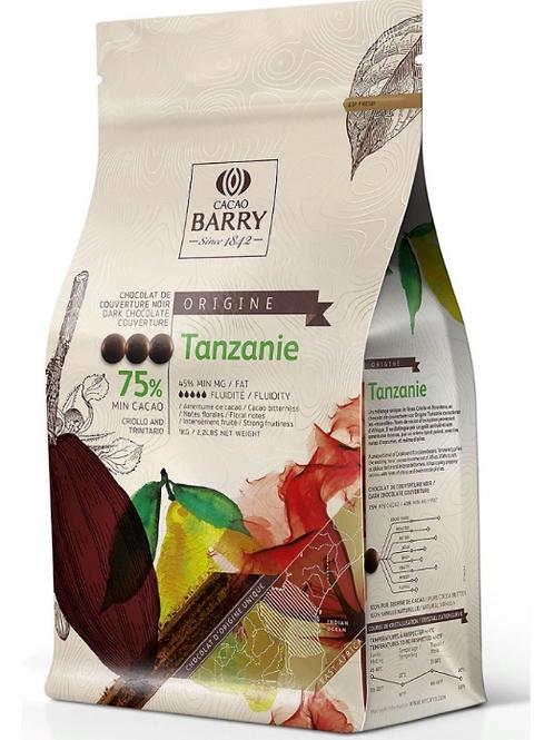 Темный шоколадный кувертюр TANZANIE 75% Cacao Barry 100гр