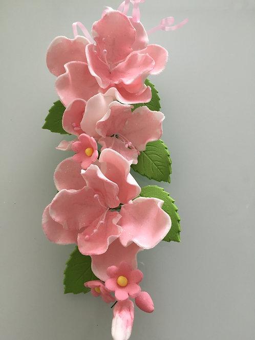 """Цветы из мастики """"Розовый шиповник"""", большая ветка, Италика"""