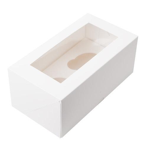 Упаковка для маффинов белая CUP2 с ОКНОМ