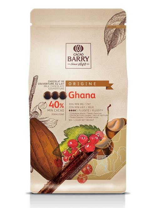 Молочный шоколадный кувертюр GHANA 40.5% Cacao Barry 100гр