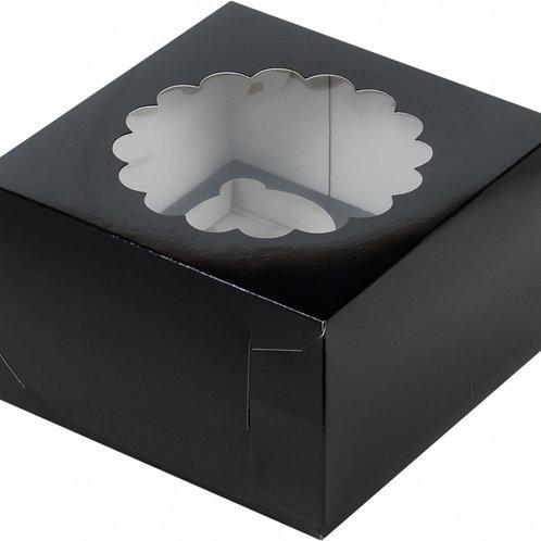 Упаковка для маффинов 3 ячейки чёрная с окном