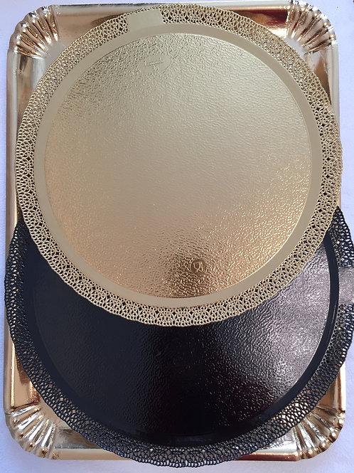 Подложка-поднос ЛЕОНАРДО (черная/перл.) , d-38 см., ажурная, усиленная, Италия