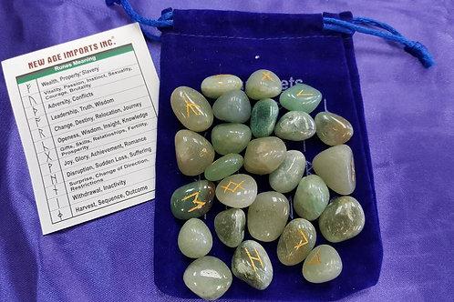Green Adventurine Rune Set