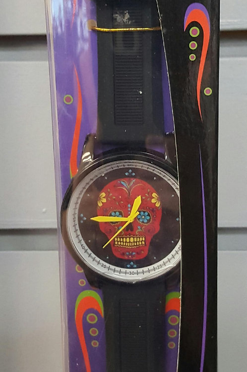 Black face and band watch with red sugar skull