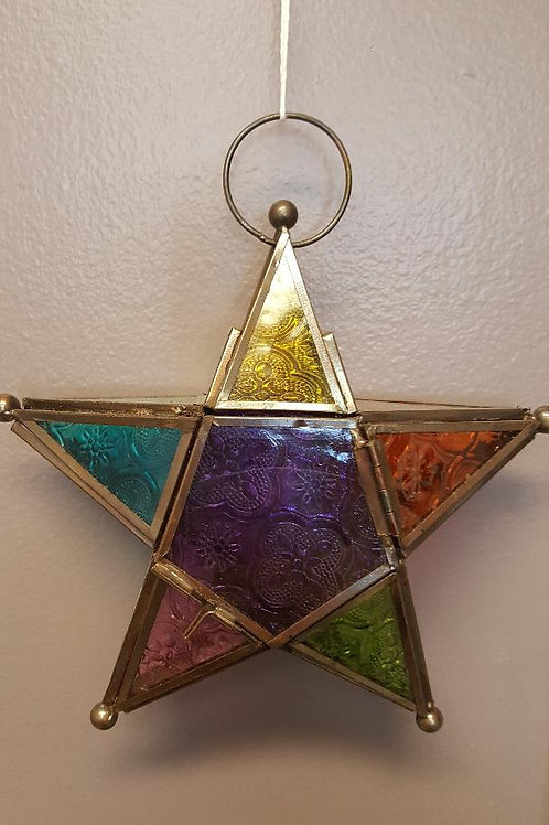 5 Pointed Glass Star Candle Holder