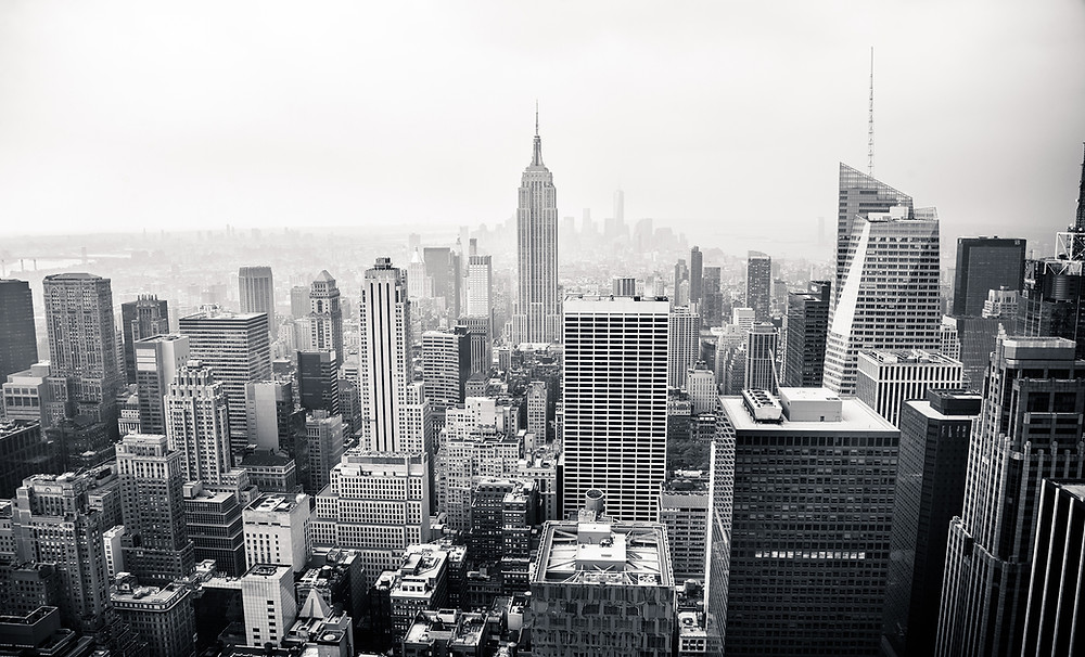Black and white photo of a city