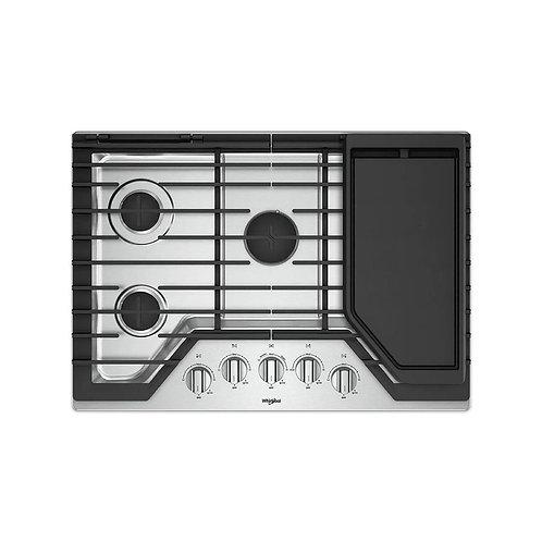 Tope de cocina a gas 5 hornillas con plancha Whirlpool