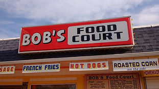 Corn Dogs, Bob's Lemonade, Corn on the Cob, our FAMOUS Fresh Cut French Fries, Sausage, Chicken, Meatball Sandwiches. We have the only seating on the front sidewalk and a nice patio in the back.