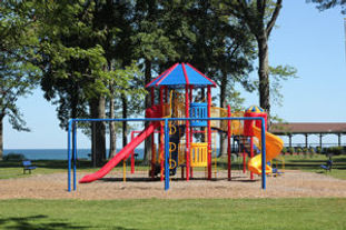 On the shore of Lake Erie with docks, playground, and pavilions