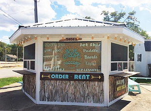 Sign up for rentals or grab a coffee or snack!  Shaved ice, smoothies, iced coffee and more at the funky shack on The Strip!