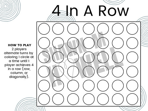 Four In A Row Game Printable
