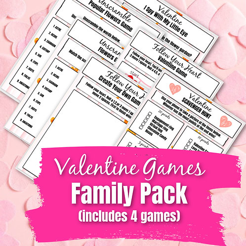 Valentine Games Family Pack (4 Digital or In Person Games)