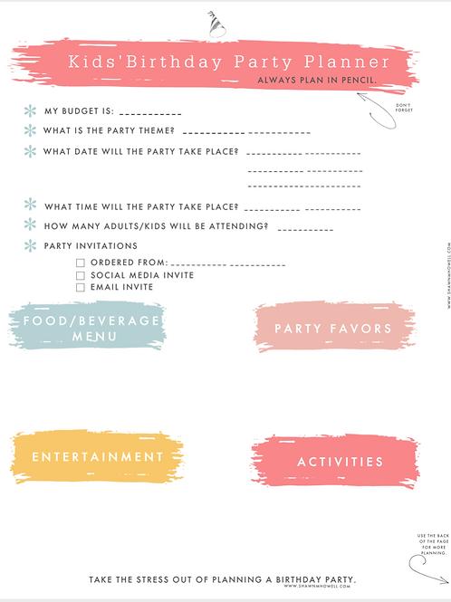 Kid's Birthday Party Planning Checklist