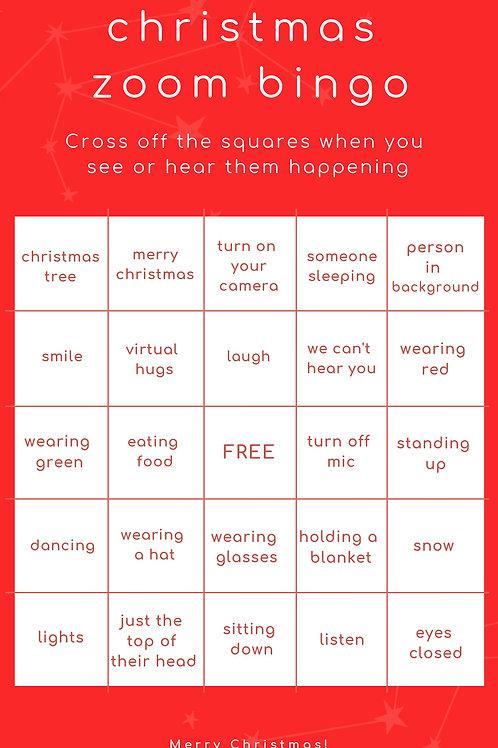 Christmas Zoom Bingo Card