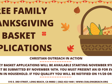 Applications for Thanksgiving Turkey Blessing Baskets Start Monday, November 9th, 2020!