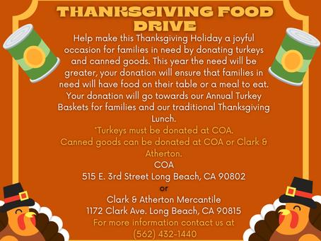 Thanksgiving Food Drive Oct. 27th - Nov. 20th!