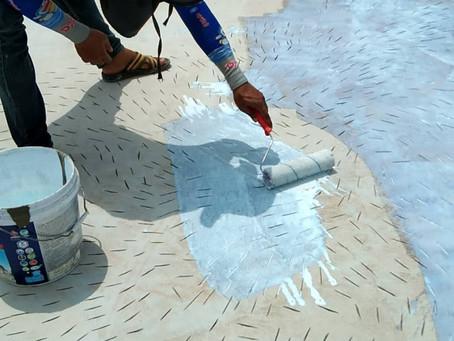 การทาน้ำยาประสานคอนกรีต latex bonding agent บนพื้นคอนกรีตเดิมแบบสูตรน้ำทั่วไป