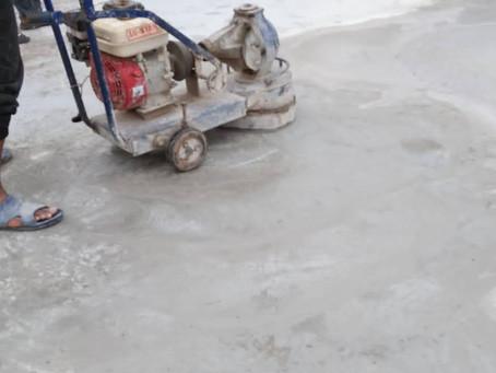 การขัดพื้นปูนให้เรียบด้วยเครื่องขัดผิวปูน scubbling machine