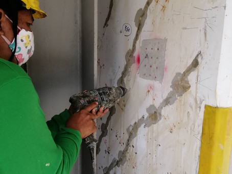 การซ่อมรอยร้าวเฉียง 45 องศาที่เสาอาคาร (Crack repair on column)