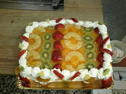 Tarta de frutas.