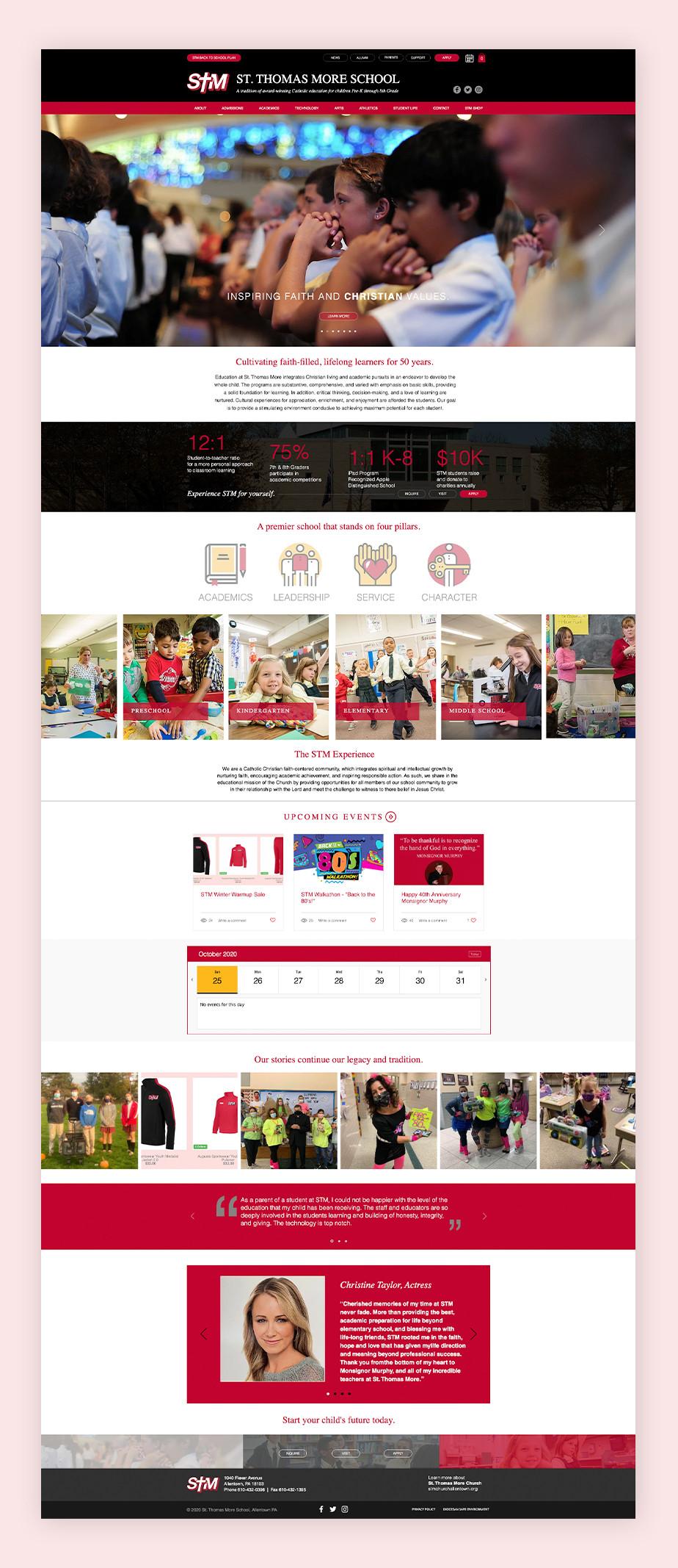 school website example by st. thomas more school
