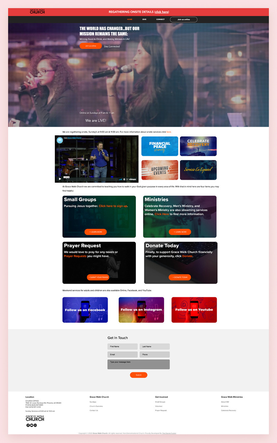 Best church websites example by Grace Walk Church