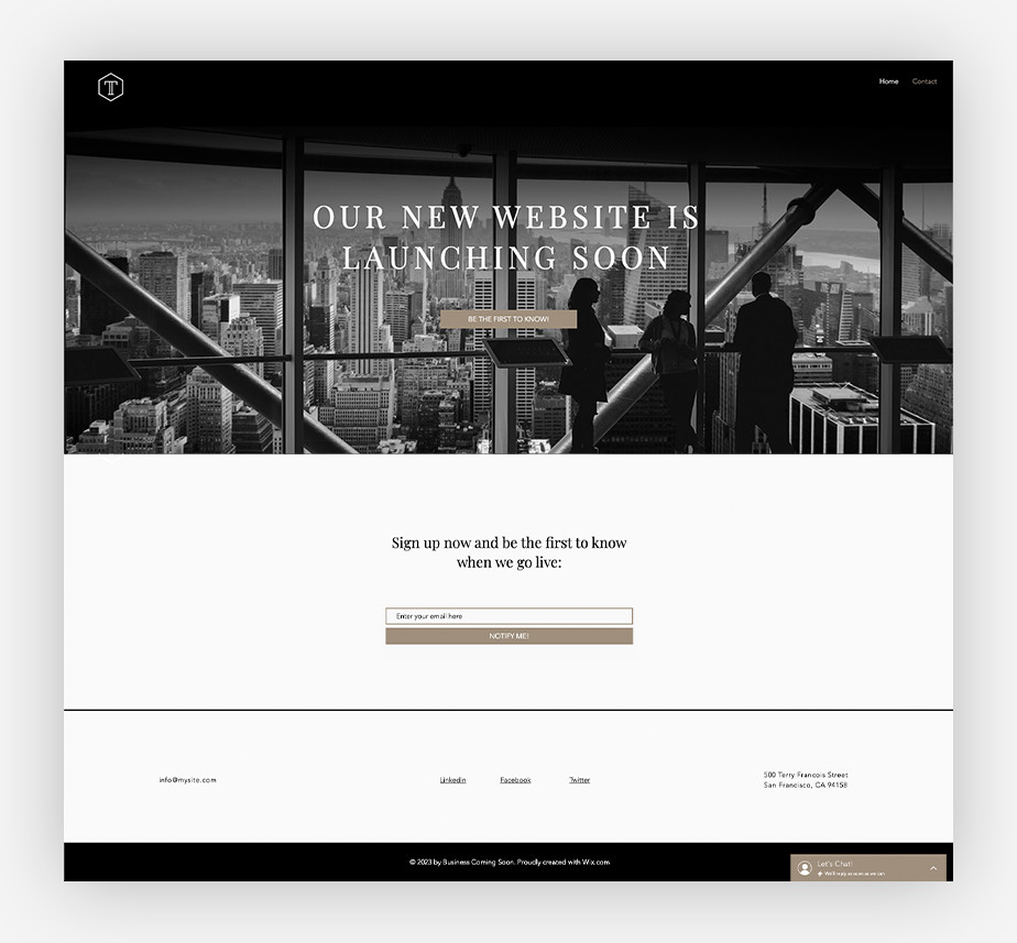 Website under construction page example by wix