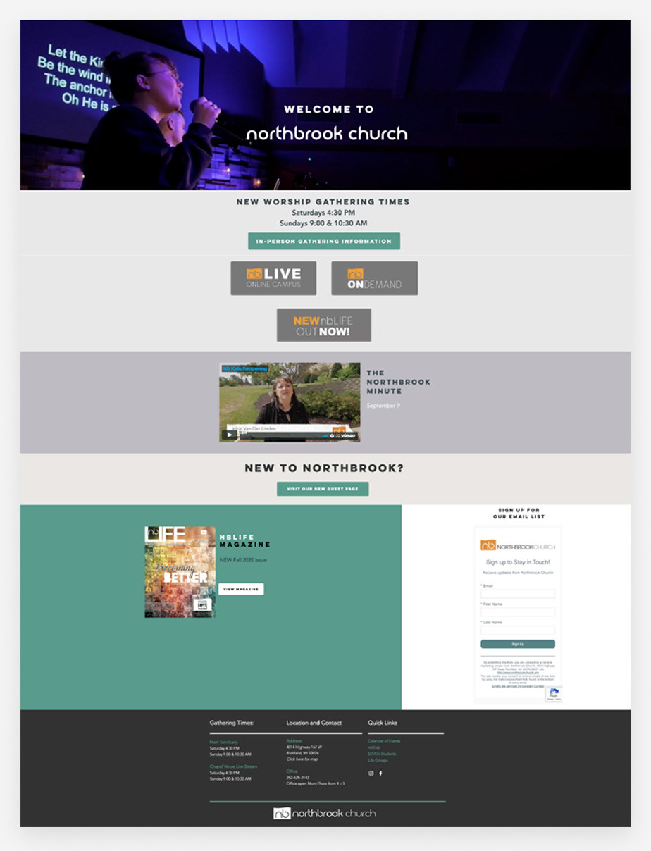 Best church websites example by Northbrook Church