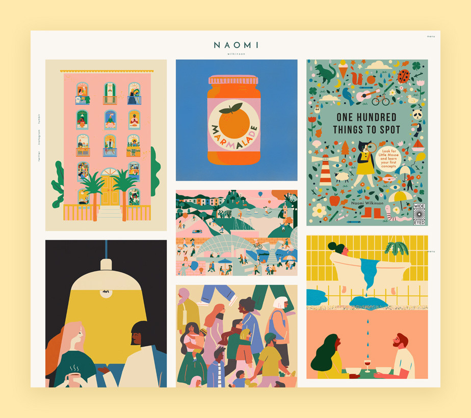 Illustration portfolio website example by Naomi Wilkinson