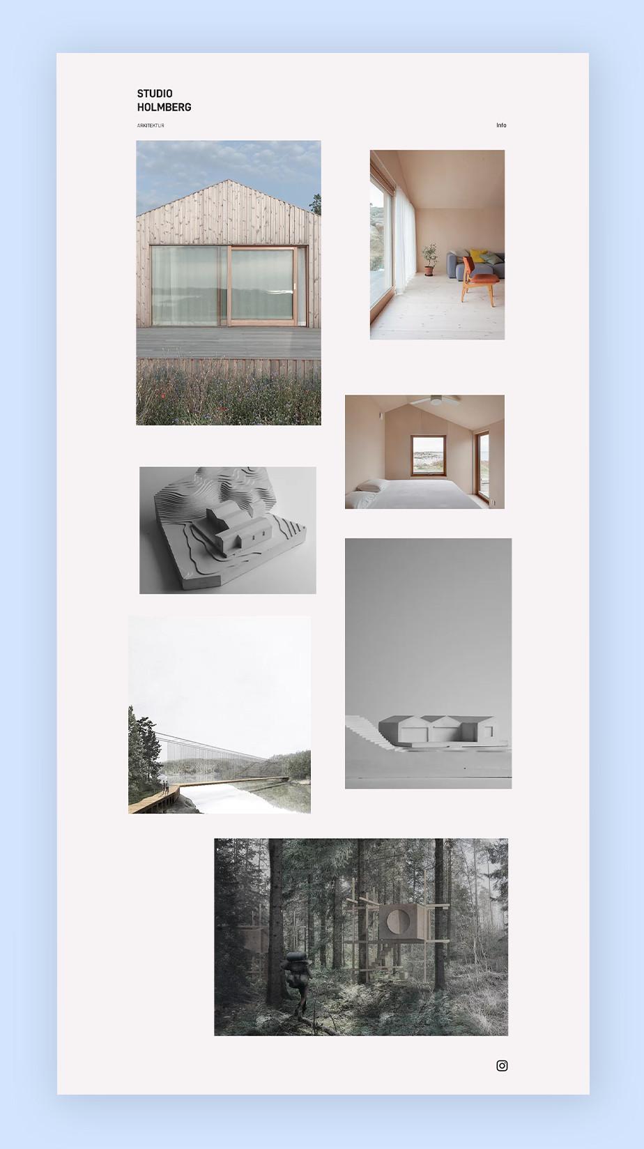 architecture portfolio website example by Mathias Holmberg