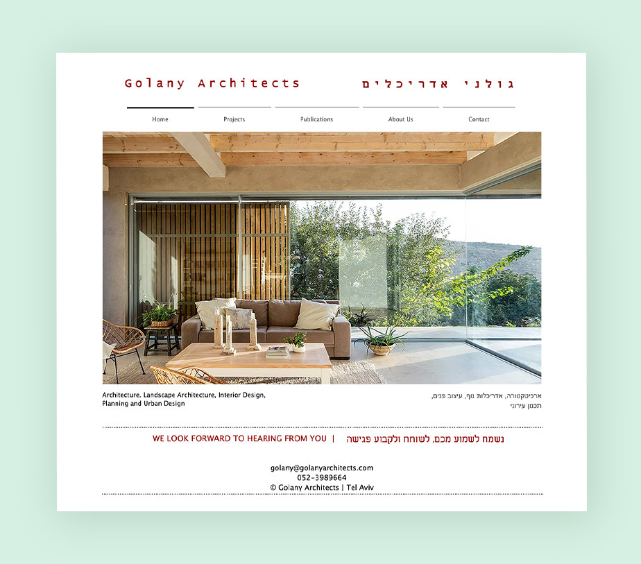 architecture portfolio website example by Golany Architects