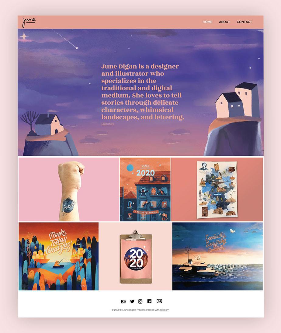 art portfolio website example by June Digan