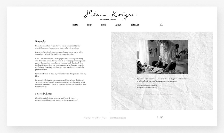 About us page example by Helena Kruger