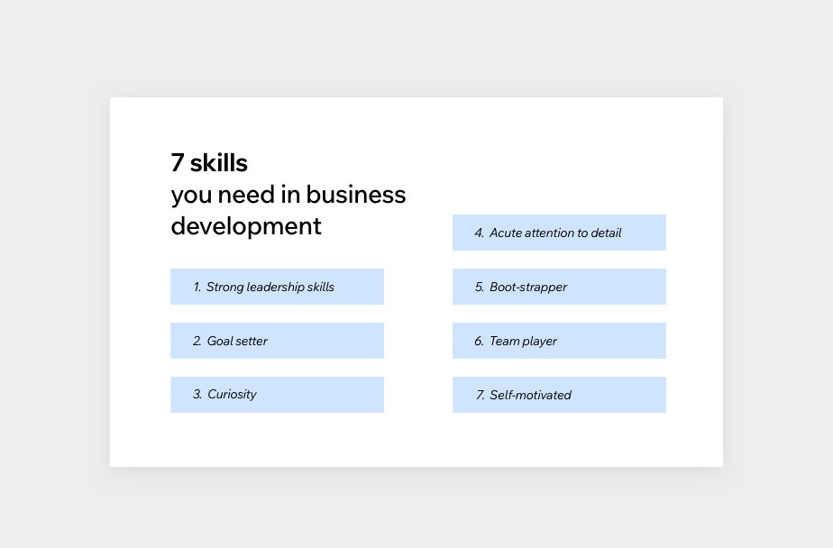 chart listing 7 skills needed for business development
