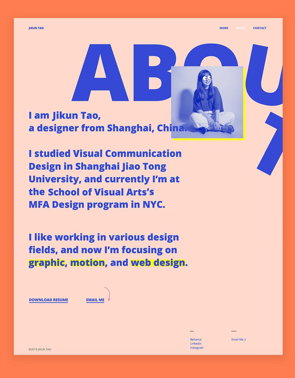 how to create an online portfolio example by Jikun Tao