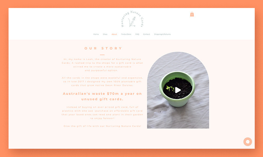 About us page example by Nuturing Nature Cards