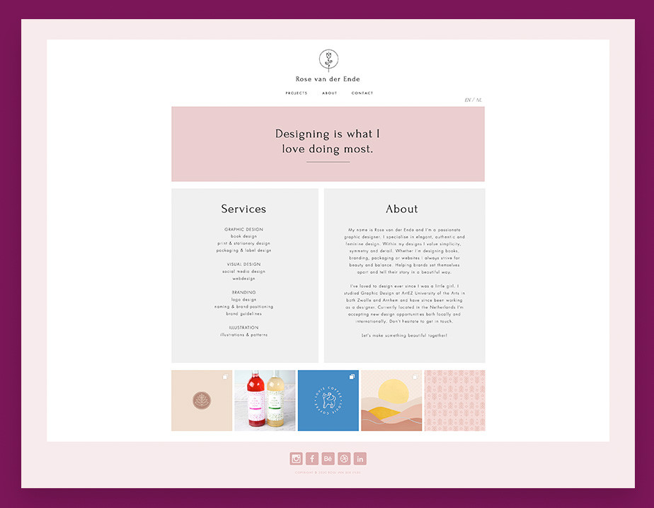 About us page example by Rose van der Ende