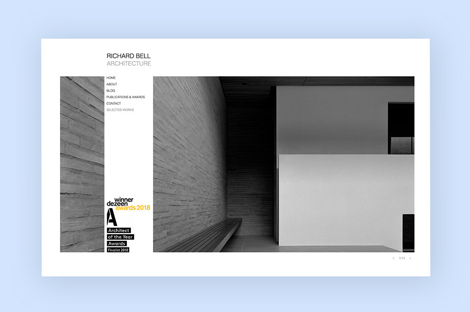 architecture portfolio websites example by Richard Bell