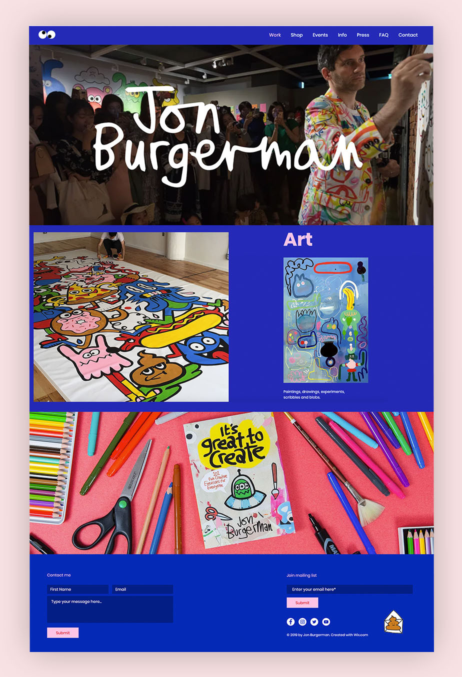 art portfolio website example by Jon Burgerman